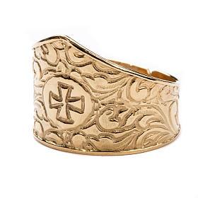 Anel para bispo prata 925 dourada cruz s2