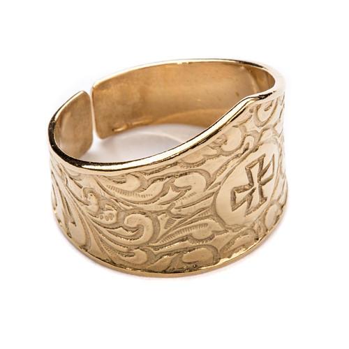 Anel para bispo prata 925 dourada cruz 1