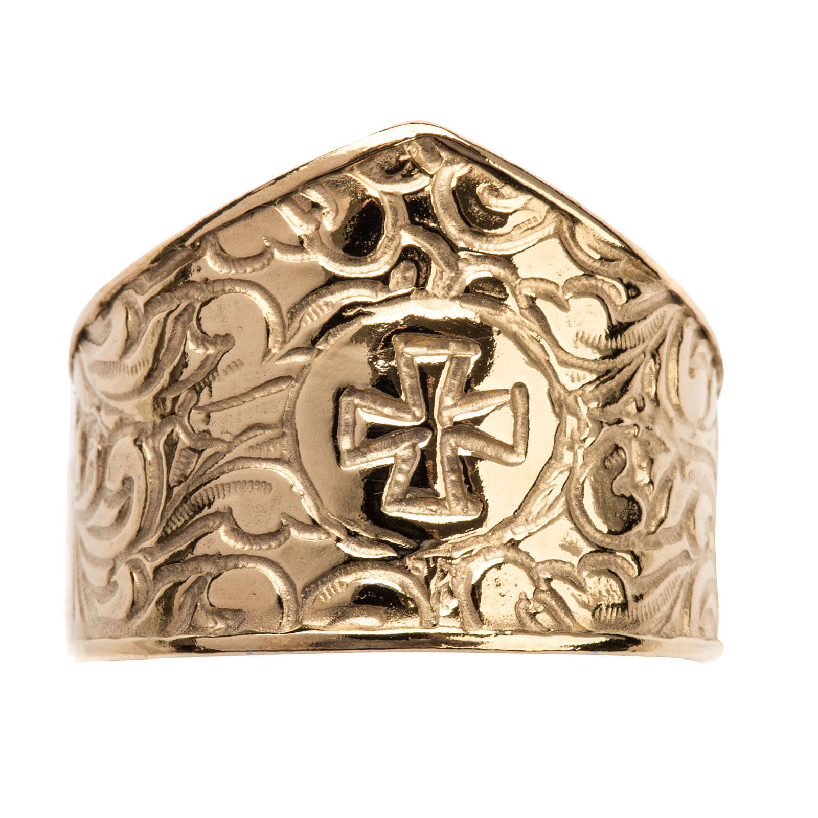 Bishop Ring in gold plated silver 925, cross decoration 3