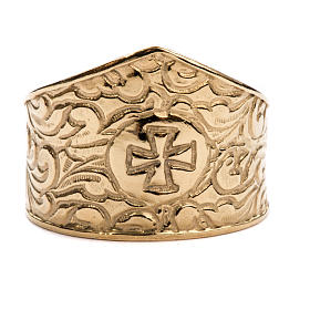 Bishop Ring in gold plated silver 925, cross decoration s3