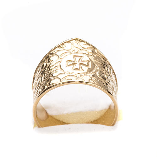 Bishop Ring in gold plated silver 925, cross decoration 5