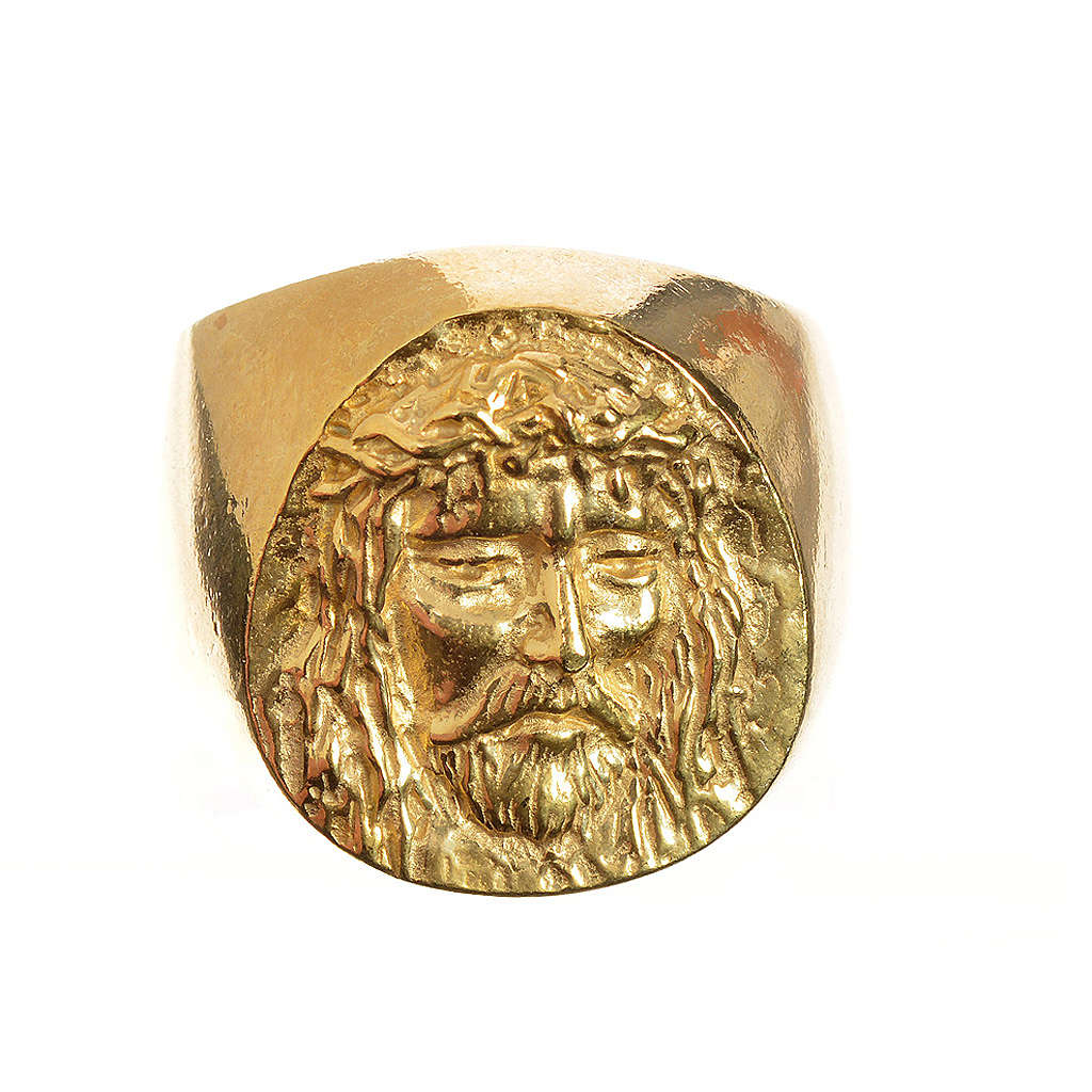 Bishop Ring in gold plated silver 925, Christ's face 3