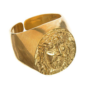 Bishop Ring in gold plated silver 925, Christ's face s1