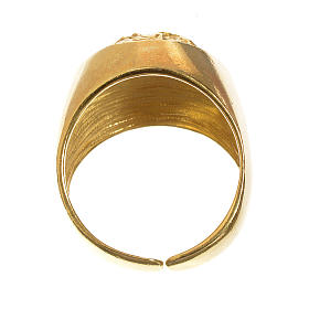 Bishop Ring in gold plated silver 925, Christ's face s3