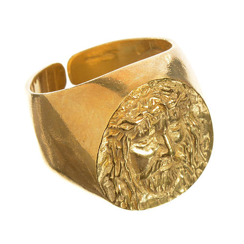 Bishop Ring in gold plated silver 925, Christ's face 1