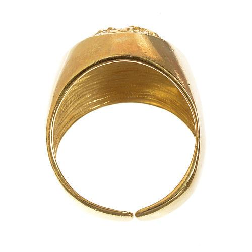 Anello per vescovi argento 800 dorato Volto di Cristo 3