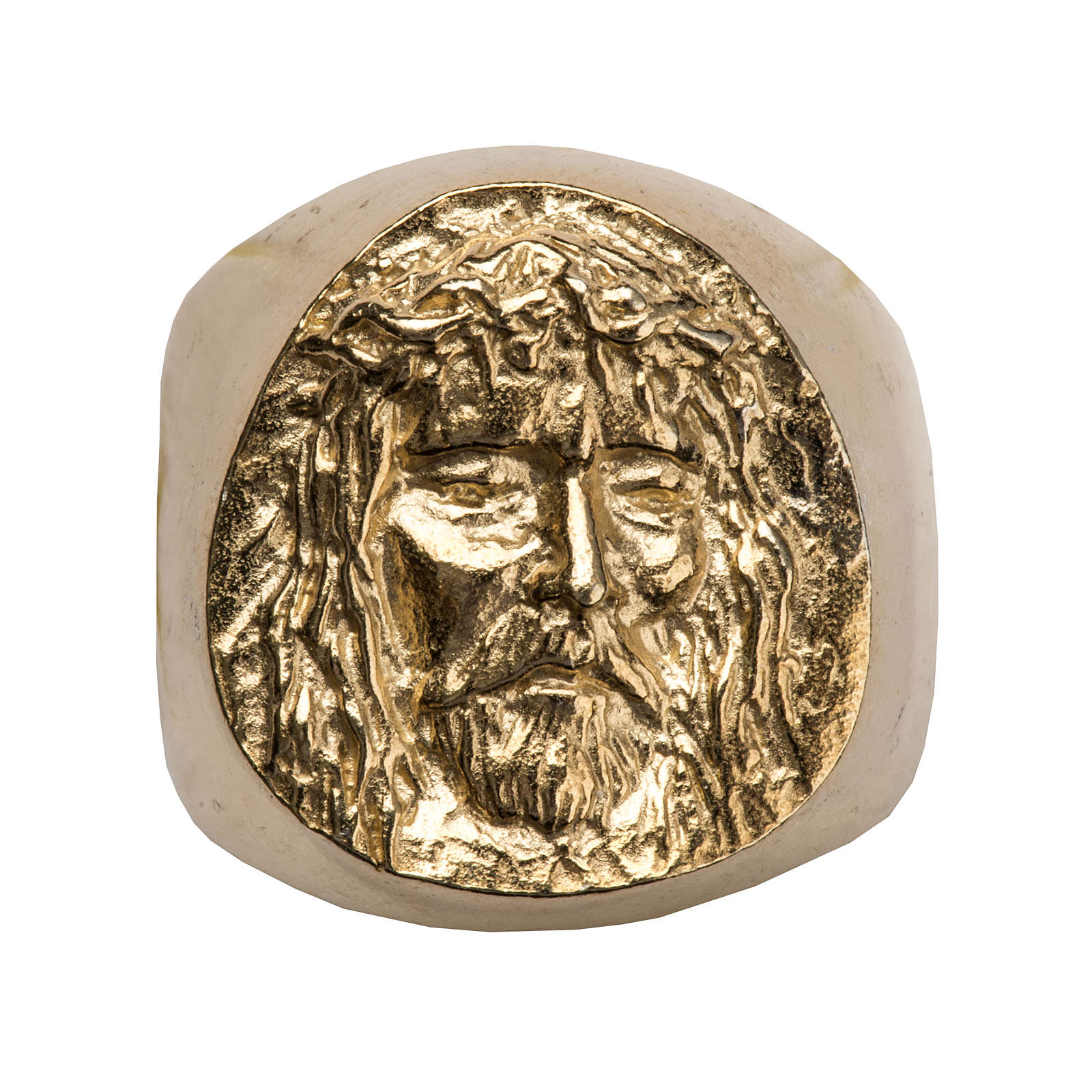Bishop Ring in gold plated silver 800, Christ's face 3