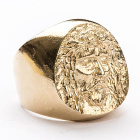 Bishop Ring in gold plated silver 800, Christ's face s1