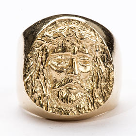 Bishop Ring in gold plated silver 800, Christ's face s5