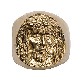 Bishop Ring in gold plated silver 800, Christ's face s8