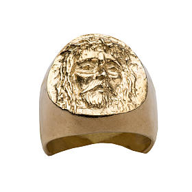 Bishop Ring in gold plated silver 800, Christ's face s9