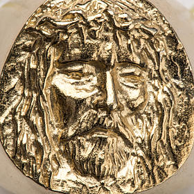 Bishop Ring in gold plated silver 800, Christ's face s10