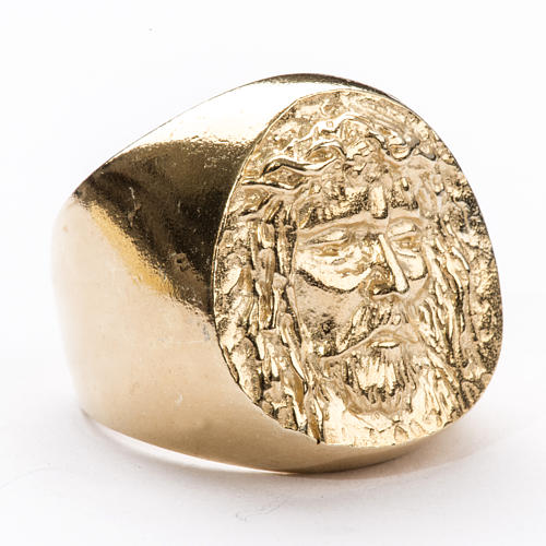 Bishop Ring in gold plated silver 800, Christ's face 1