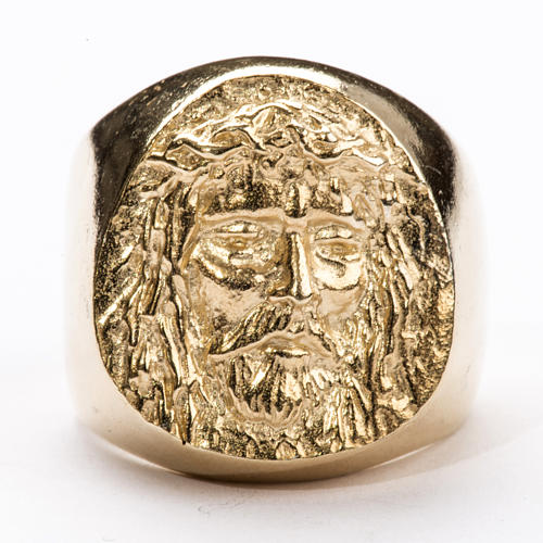 Bishop Ring in gold plated silver 800, Christ's face 5