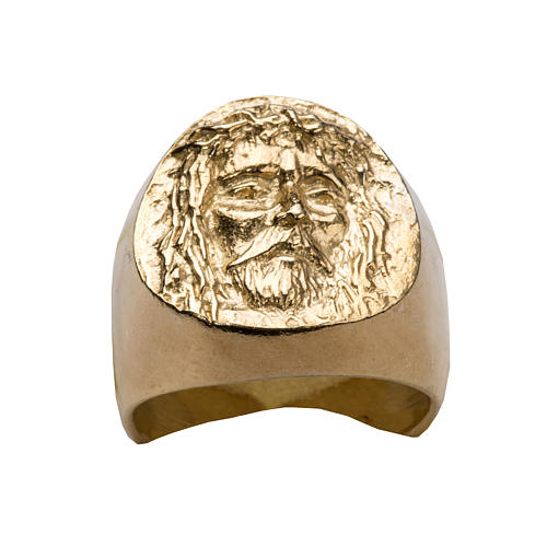 Bishop Ring in gold plated silver 800, Christ's face 9