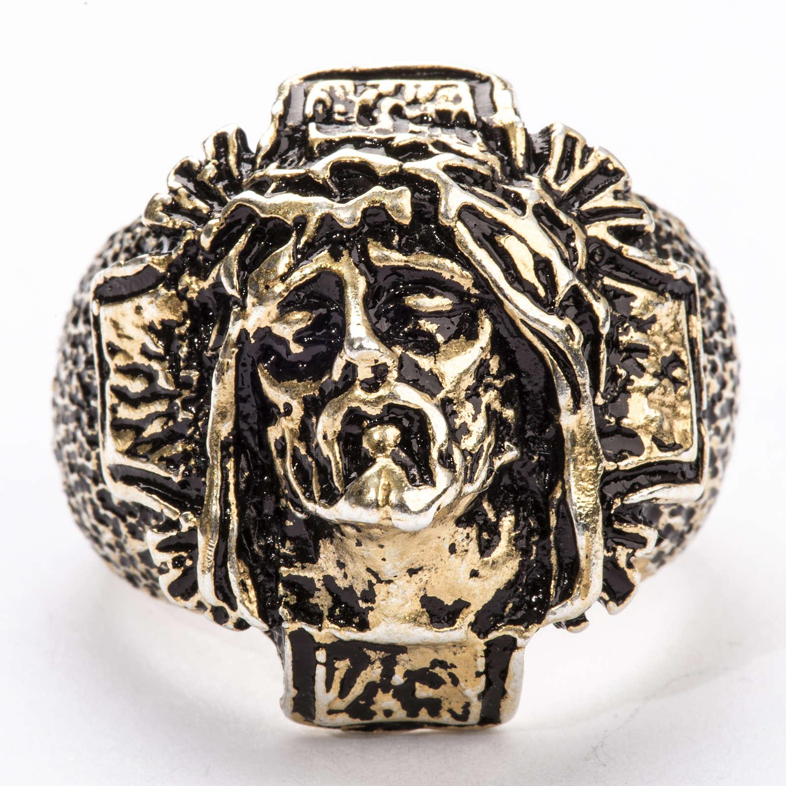 Anneau épiscopal argent 925 bronzé Christ 3