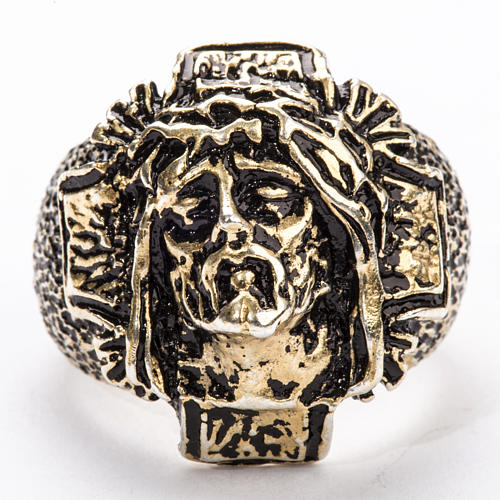 Bishop's Ring in bronzed silver 925, Christ's face 3