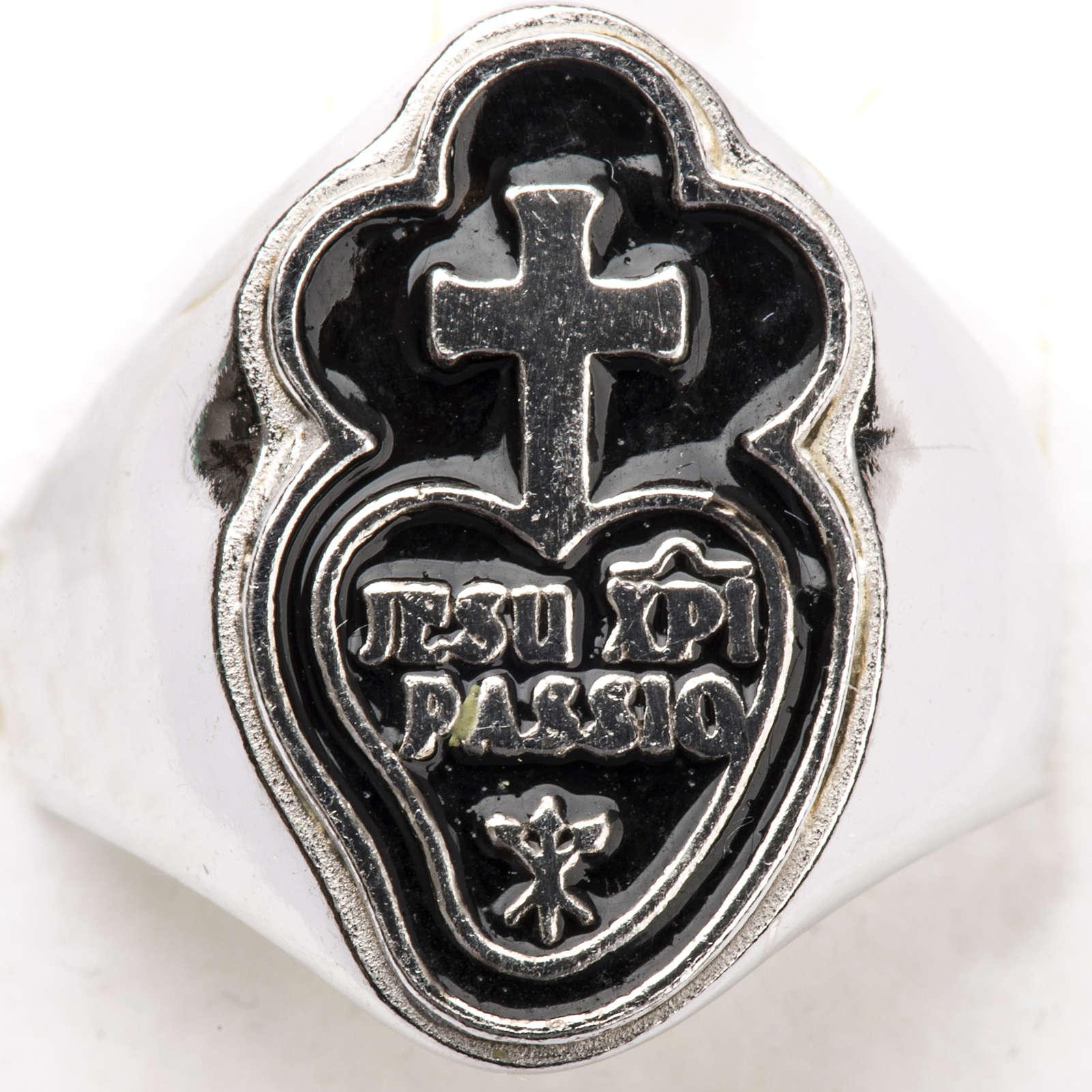 Anneau épiscopal argent 800 Jesu XPI Passio 3