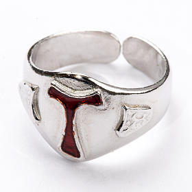 Bishop's Ring in silver 925, Enamel Tau s2