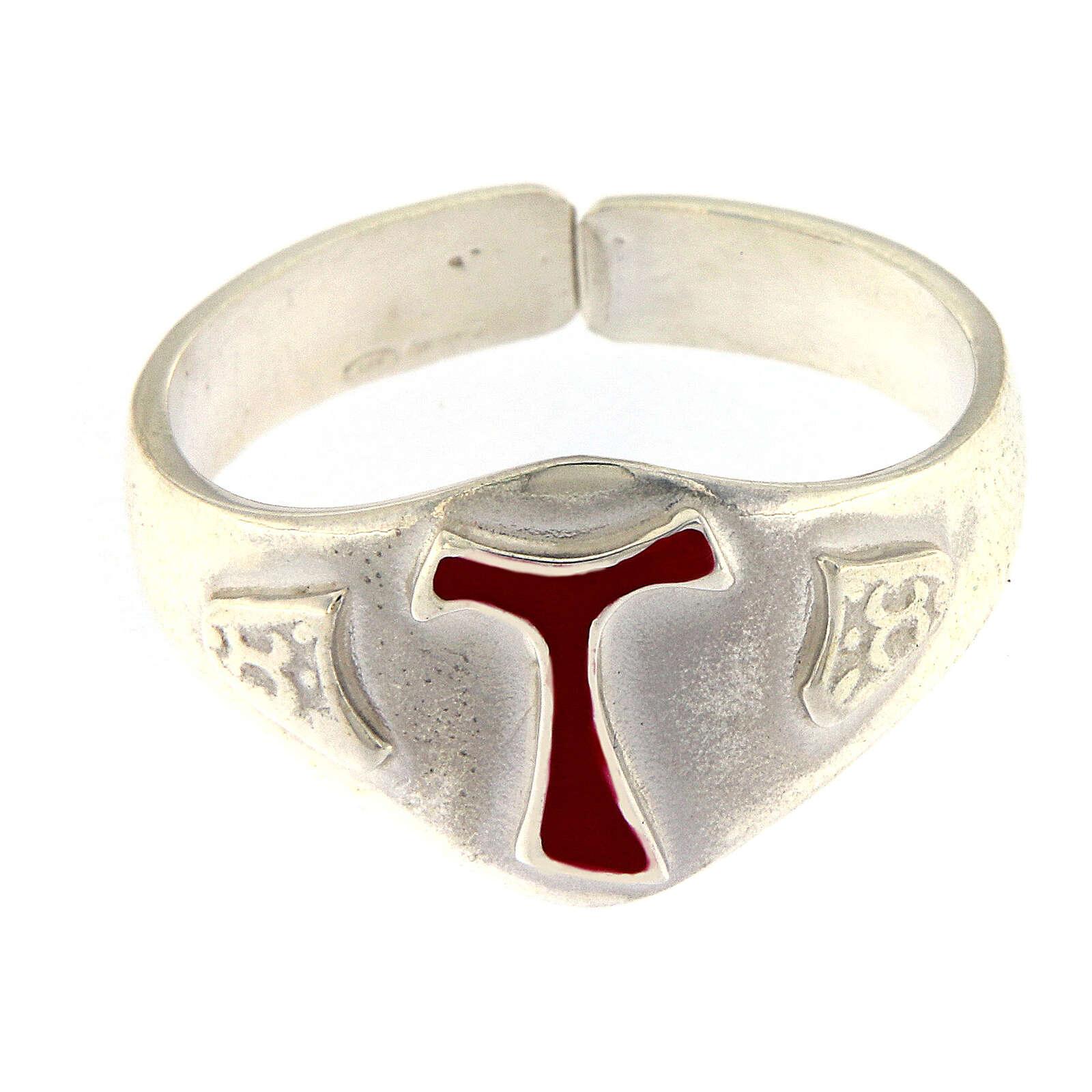 Anello per vescovi argento 925 tau smaltato 3