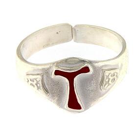 Anello per vescovi argento 925 tau smaltato s2