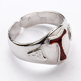 Bishop's Ring in silver 925, Enamel Tau s1