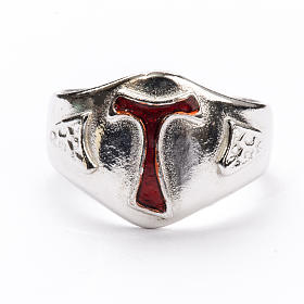 Bishop's Ring in silver 925, Enamel Tau s3