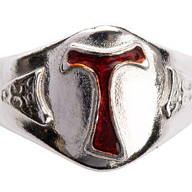 Bishop's Ring in silver 925, Enamel Tau s4