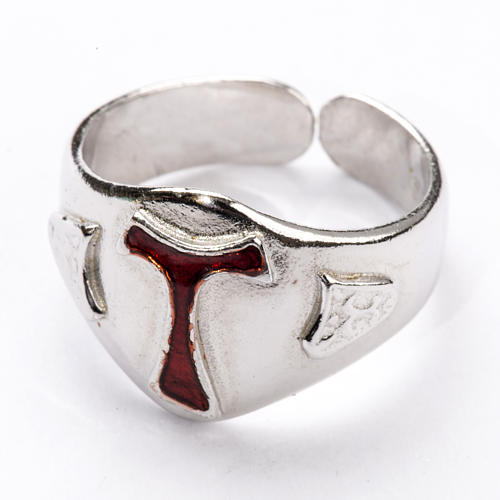 Bishop's Ring in silver 925, Enamel Tau 2