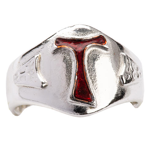 Bishop's Ring in silver 925, Enamel Tau 5