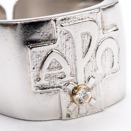 Anillo obispal  de plata 925, XP, alfa, omega, con zircón 4