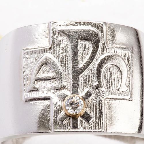 Anillo obispal  de plata 925, XP, alfa, omega, con zircón 6