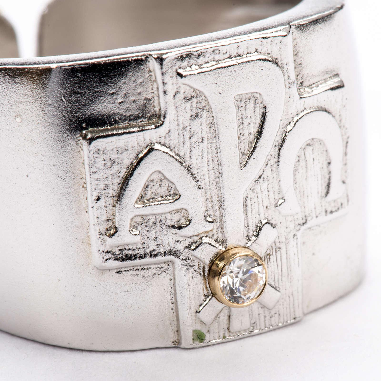 Anello per vescovi argento 800 XP alfa omega zircone 3