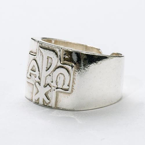 Bishop Ring with Chi-Rho, Alpha and Omega in silver 925 2