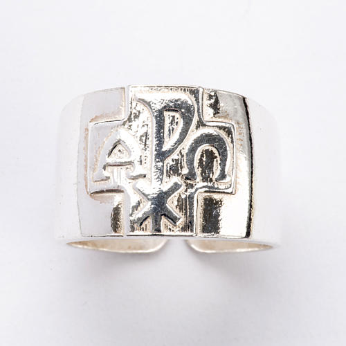 Bishop Ring with Chi-Rho, Alpha and Omega in silver 925 4