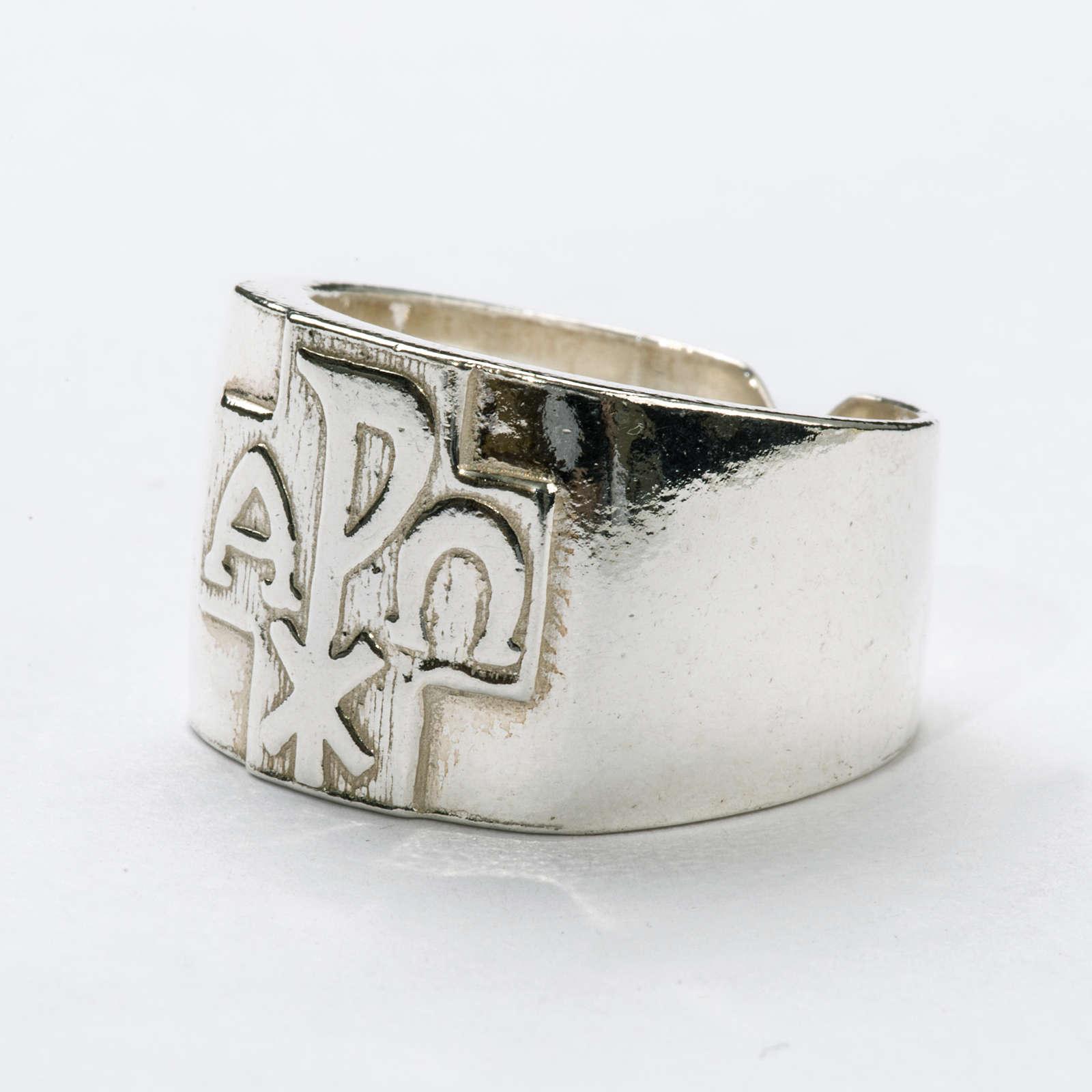 Anello per vescovi argento 800 XP alfa omega 3