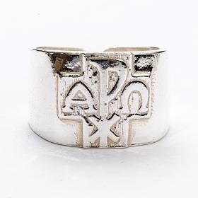 Anello per vescovi argento 800 XP alfa omega s3