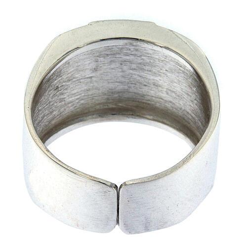 Anello per vescovi argento 925 XP alfa omega 3