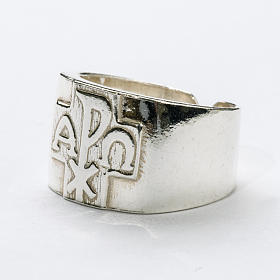Anel para bispo prata 925 Chi-Rho alfa ómega s2
