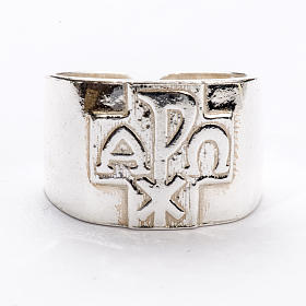 Anel para bispo prata 925 Chi-Rho alfa ómega s3