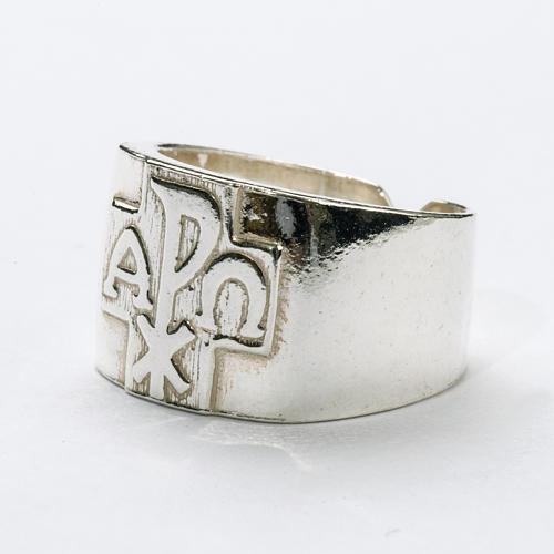 Anel para bispo prata 925 Chi-Rho alfa ómega 2