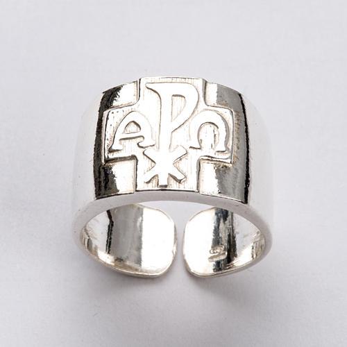 Anel para bispo prata 925 Chi-Rho alfa ómega 5