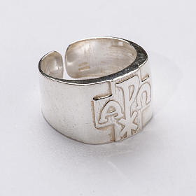 Bishop Ring with Chi-Rho, Alpha and Omega in silver 925 s1
