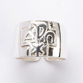 Bishop Ring with Chi-Rho, Alpha and Omega in silver 925 s4