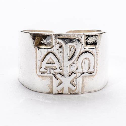 Bishop Ring with Chi-Rho, Alpha and Omega in silver 925 3