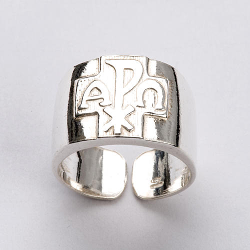 Bishop Ring with Chi-Rho, Alpha and Omega in silver 925 5