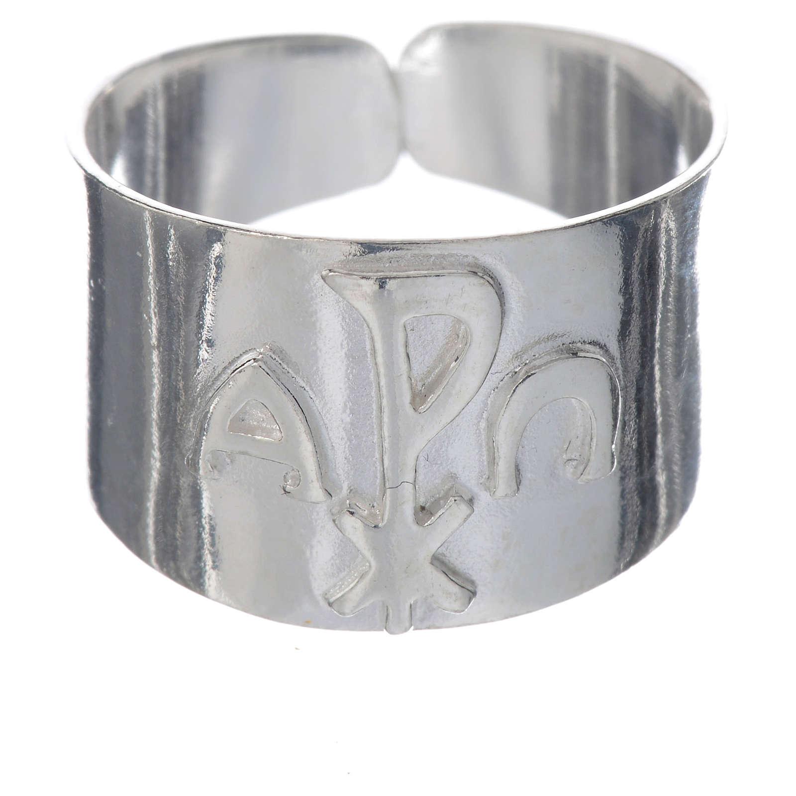 Anello vescovi argento 925 alfa XP omega 3