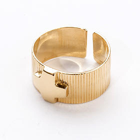 Ecclesiastical Ring in gold plated silver 925, cross decoration s2