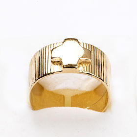 Ecclesiastical Ring in gold plated silver 925, cross decoration s5