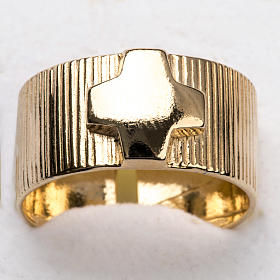 Ecclesiastical Ring in gold plated silver 925, cross decoration s6